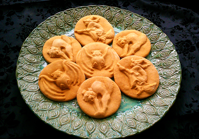 Pumpkin Spice Halloween Cookies Made with ZANDA PANDA Stoneware Cookie Molds