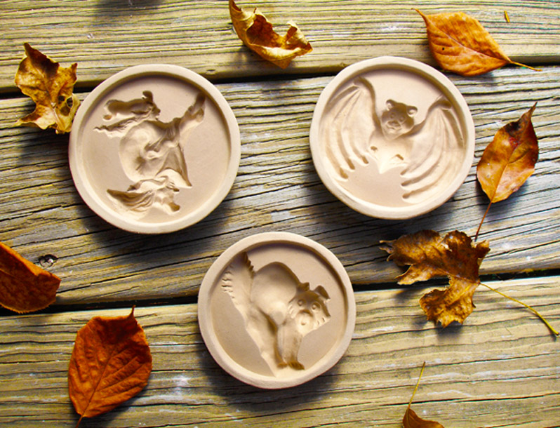 ZANDA PANDA's New Handamade Stoneware Halloween Cookie Molds