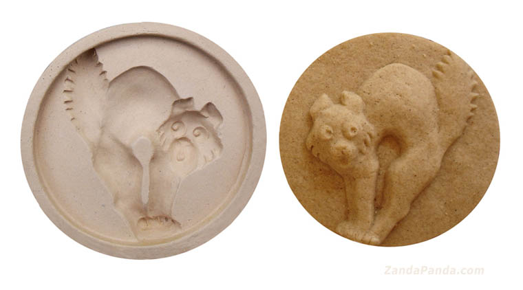 ZANDA PANDA Handmade Stoneware Halloween Cat Cookie Mold