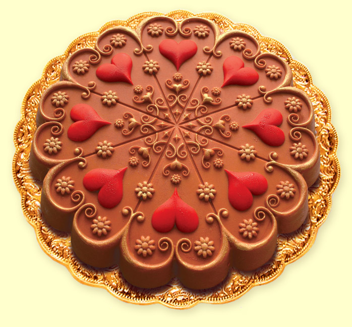 Kaleidoscope Heart Chocolate ''No-Bake Backwards Cake'