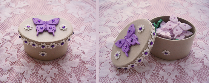 Handmade Butterfly Gift Box filled with Butterfly-Shaped Soap.  Made with Zanda Panda's Kaleidoscope Butterfly Mold