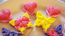Mini Heart and Butterfly shaped sandwich cookies made with ZANDA PANDA's Kaleidoscope Collection Molds