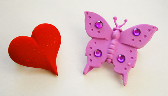 Zanda Panda Heart and Butterfly Pins
