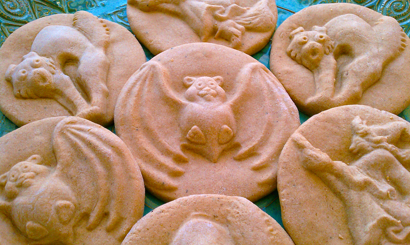 Halloween Cookies made with ZANDA PANDA's Handmade Stoneware Cookie Molds